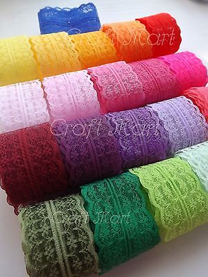 37 COLOURS lace ribbon trim craft scrapbook wedding cards scalloped edge favors