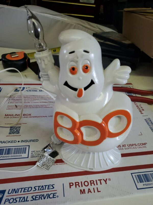 """Halloween Ghost electric candle Tabletop Decor Blow Mold 9"""" Boo vtg (r7)"""