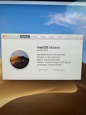 Apple IMac Retina 4K 21.5 inch late 2015. 3.1ghz I5 8GB 1 TB