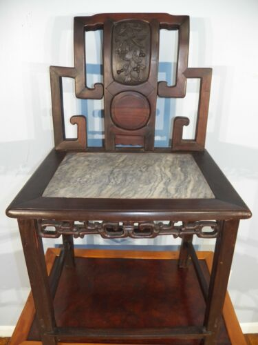 ANTIQUE CHINESE ROSEWOOD CHAIR Carved Back & MARBLE INSET