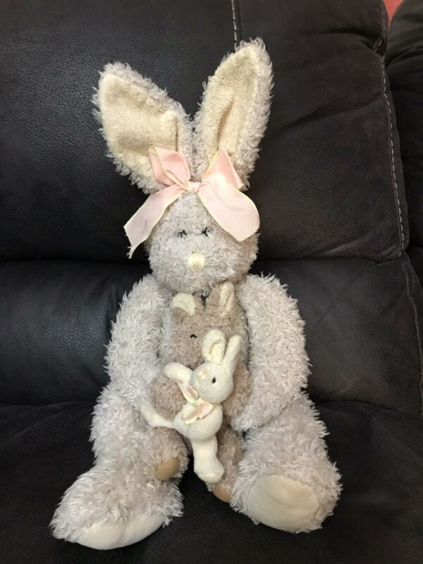 Russ Berrie Maddie Bunny Rabbit Mama & Baby 18in Coarse Shaggy Plush AnimalToy