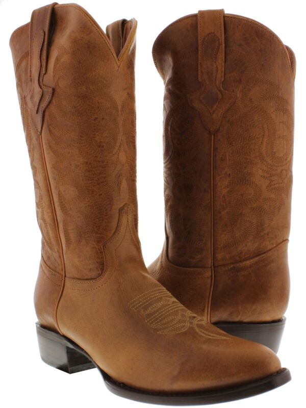 Mens, Cognac, Classic, Leather, Western, Cowboy, Boots, Distressed, Plain, Round, Toe