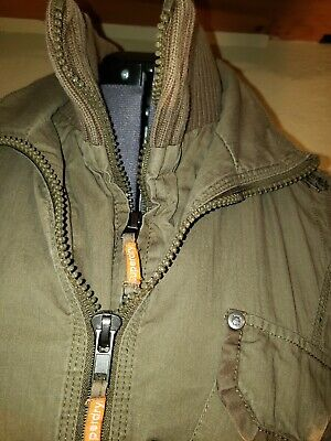 Womans Superdry Army Green Military Cargo Jacket Small Zip
