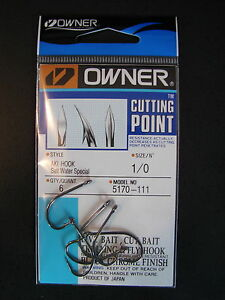 Owner Cutting Point size 1/0 Aki  Hook Salt Water Special Black Chrome 5170-111