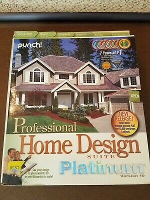 Home Design Suite Platinum Software by Punch Software complete in box Vers 10