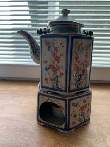 The Toscany Collection Asian Spring Floral Japan Teapot with Candle Warmer