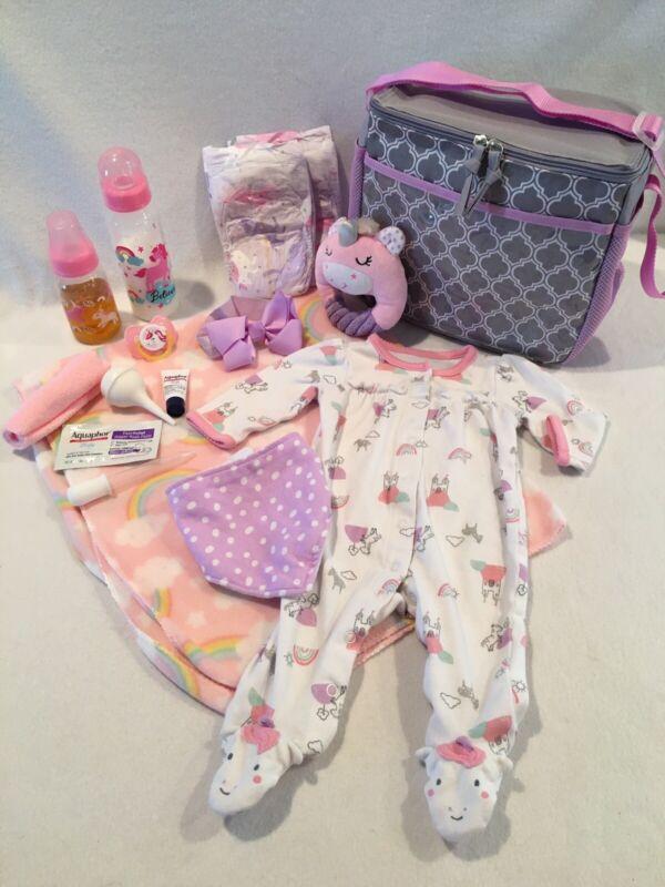 Reborn Baby Doll Unicorn Diaper Bag W/pacifier, bottle & accs
