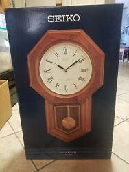 Seiko Solid Wood Pendulum Schoolhouse Wall Clock Dual Chime QXH102BC