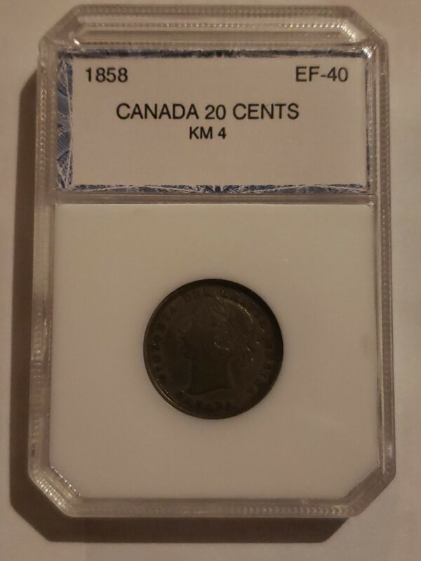 1858 Canada 20 cents silver coin, Low mint of 750K, Rotated back