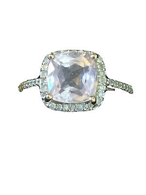 9 Carat Gold Kunzite With Diamond Accent Cushion Cut Halo Set