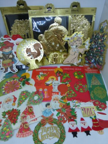 Huge Lot Vintage Hallmark Carlton Gift Tags Santa Gummed Seals Stickers 100+