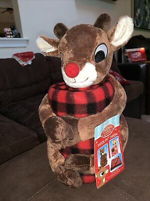 """DAN DEE RUDOLPH THE RED NOSED REINDEER FLEECE THROW 50"""" X 60"""" WITH PLUSH NWT"""