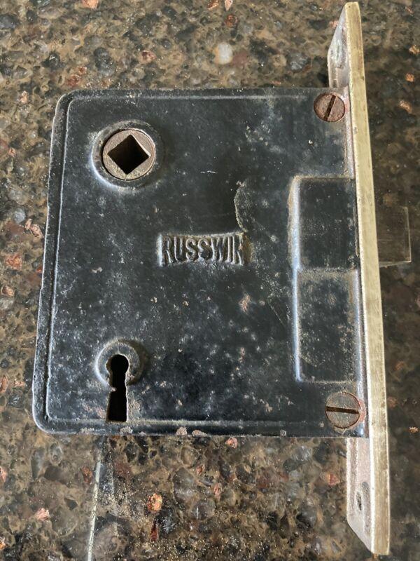 antique RUSSWIN MORTISE LOCK privacy latch RESTORATION HARDWARE brass cast iron