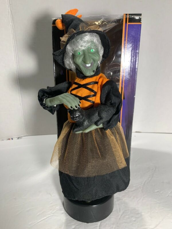 HTF VINTAGE GEMMY HALLOWEEN FACTORY ANIMATED WITCH PETTING HER CAT 1996 Works