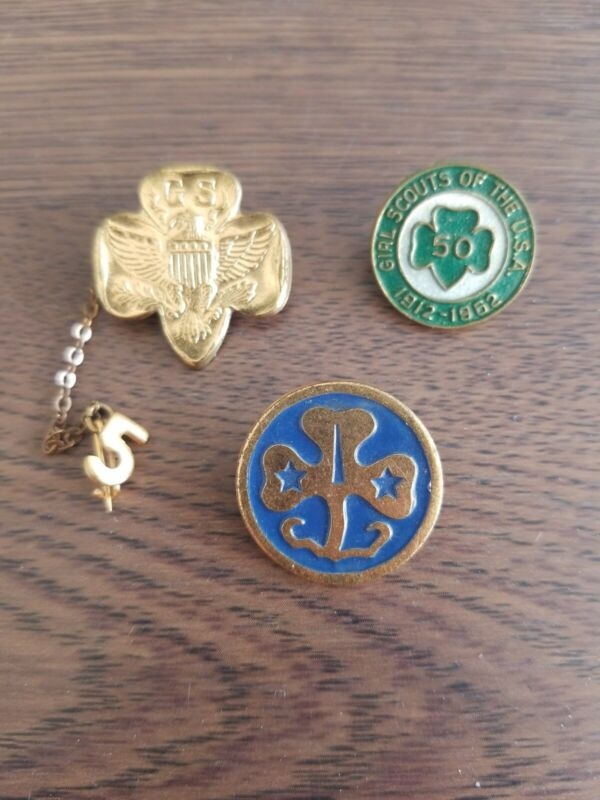 Girl Scout Pins 50th anniversary and 2 more