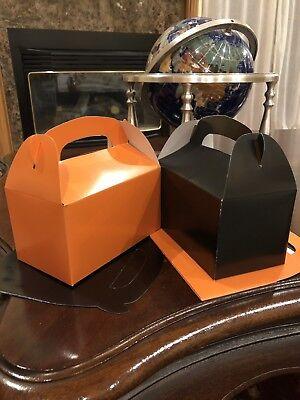 TWENTY-FOUR (24) 12 ORANGE & 12 BLACK PARTY FAVOR TREAT BOXES HALLOWEEN BIRTHDAY - Halloween Favor Boxes