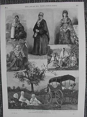 Islam Frauenkleidung Reformen Verschleierung HOLZSTICH von 1889 Burka Tschador