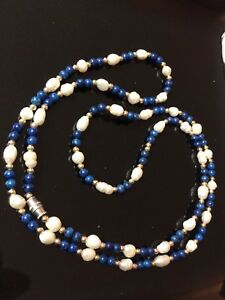 Necklace vintage gold metal blue stone natural or faux pearl