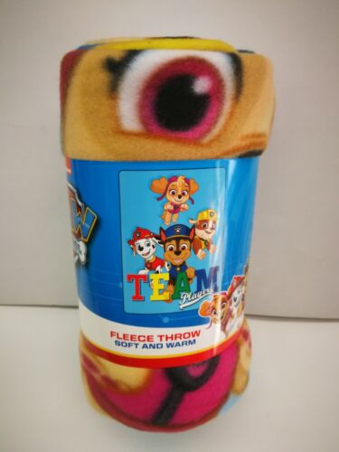 "PAW PATROL BOY GIRL SOFT & WARM 45""X60"" FLEECE THROW BLANKET PINK 100% ORIGINAL"