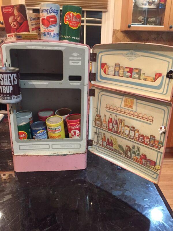 1960's WOLVERINE COLDSPOT PINK REFRIGERATOR FREEZER + VTG FOOD BRANDS