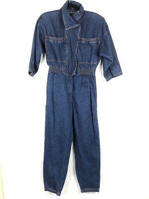 Vintage 80s Denim Jumpsuit Coveralls Jumper Overalls Blue Jean Women 11/12 Taper