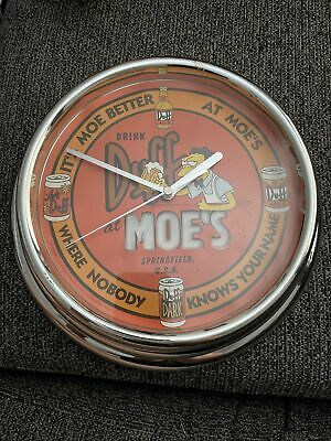 THE SIMPSONS MOE'S DINER DUFF BEER WALL CLOCK Man cave Bar - Collectable