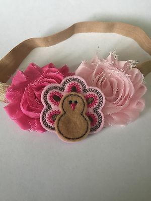 Turkey Headbands First Thanksgiving Baby Pink Turkey Fall Holiday Baby