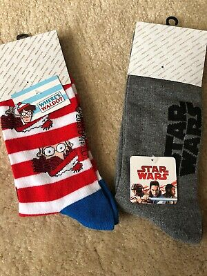 2 Pair Star Wars And Where's Waldo? Crew Socks Adult Shoe Size 6-12 Socks NWT