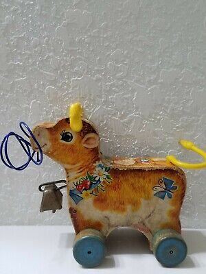 Vintage Bossy Bell Cow Pull Toy 1961