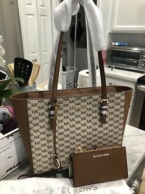 Michael Kors Jet Set Heritage Logo Med EW Top Zip Shoulder Tote & Wallet Set New
