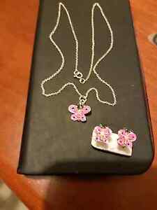 Necklace Pink Butterfly pendant and matching earings Fremantle Fremantle Area Preview