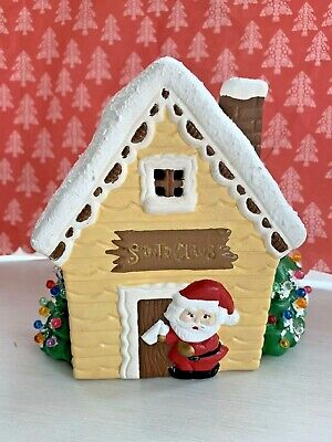 Vintage Christmas Tree Ceramic Mold Santa Claus House Light Up Holiday 6""