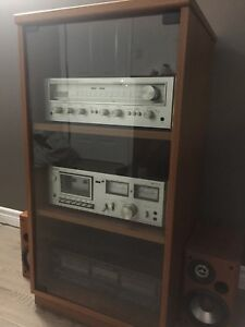 Teak stand, stereo receiver, tape decks and speakers