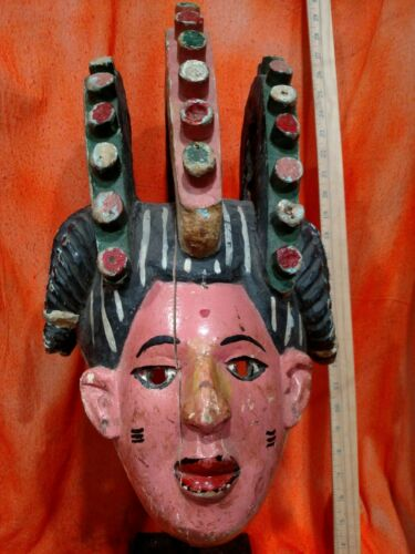 Vibrant Yoruba Helmet with Display Stand — Authentic Carved Wood African Art