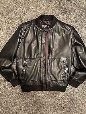 Hugo boss Leather Mens Bomber Jacket New