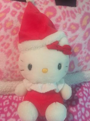"1976,2000 Vintage! Plush Sanrio Santa HELLO KITTY 8"" Stuffed Doll Japan Soft!"