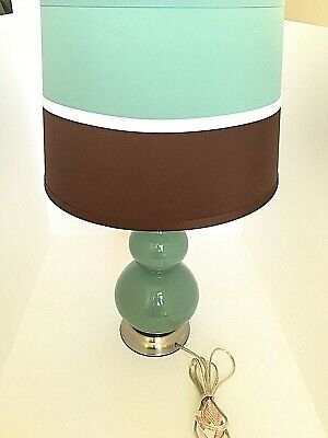 Teal Double Gourd Glass Table Lamp with Two Tone shade  Modern Silver Base  20