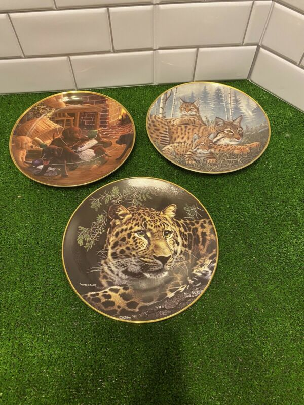 Lot of 3 Animal Collectors Plates From Franklin Mint and Hamilton