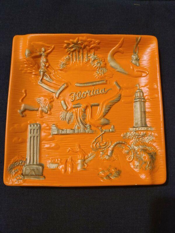 Vintage Florida Orange With Gold Retro Souvenir Ashtray,