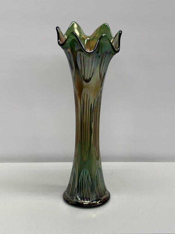 "Vintage Fenton Diamond and Rib Carnival Glass 11"" Emerald Green Swung Glass Vase"