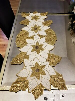 White And Gold Table Decorations (Nicole Miller Beaded Gold White Table Runner 13