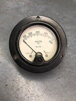 Vintage Weston Ac Volts Meter Gauge 0-500 Volts