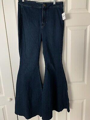 Dark Denim Flare Jeans (Women's Free People Dark Wash Super Flare Bell Bottom Hi Rise Denim Jeans Sz 29S)