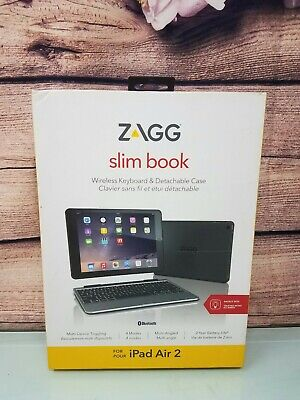ZAGG Slim Book Case Hinged with Detachable Backlit Keyboard for iPad AIR 2 BLACK