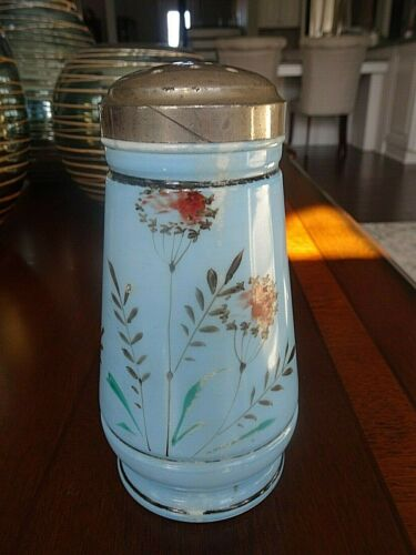 Antique Clark Bros. Glass Hand Painted Blue Sugar Shaker Muffineer