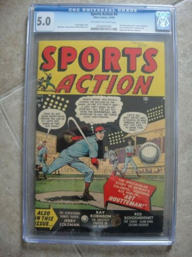 Sports Action #4 CGC 5.0 OW/W Atlas Comics 10/1950 Yankees, Cardinals, Sugar Ray