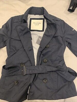 BNWT Abercrombie And Fitch Trench Coat Navy Blue Size Small