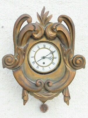 03E1 Antique Cartel Clock Skeleton Wall Wood Golden End 18th Early Xixth