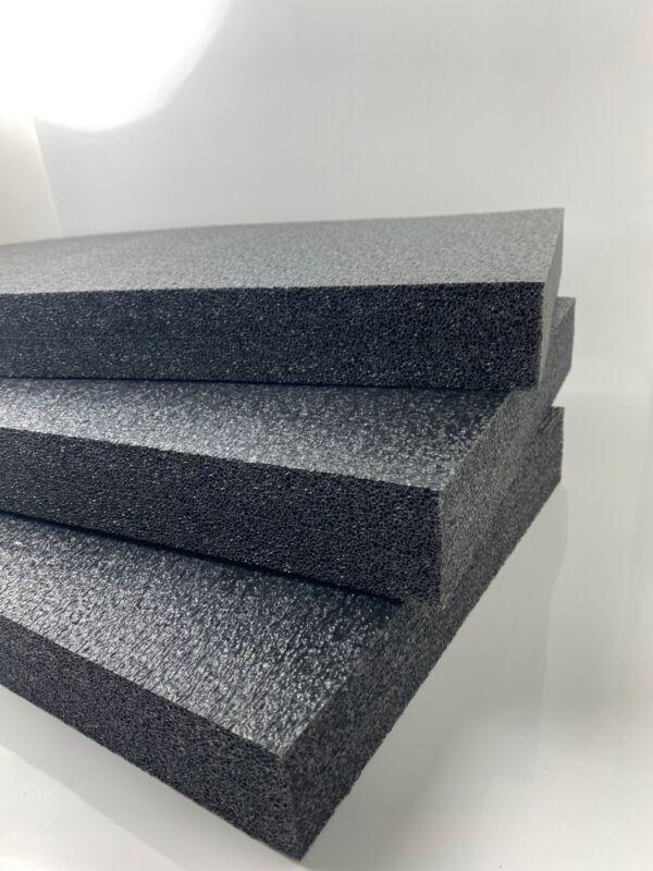 "3 Sheets - 24"" x 12"" x 2"" POLYETHYLENE PLANK FOAM, Density 1.7pcf BLACK"