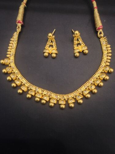 Stunning Handmade Dubai Necklace Earrings Set In 916 Solid 22Karat Yellow Gold